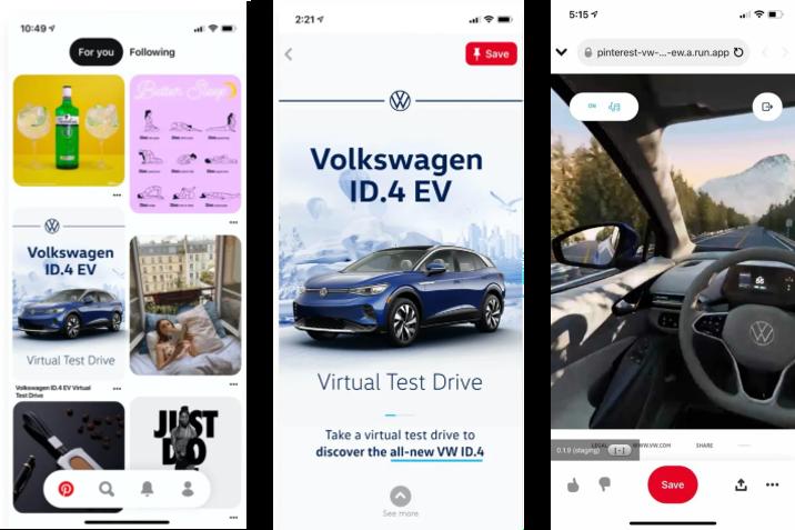 ID.4 virtuális tesztvezetés a Pinteresten